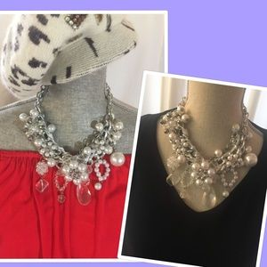 Jewelry - Bauble Statement Necklace! Pearls, glass, silver!